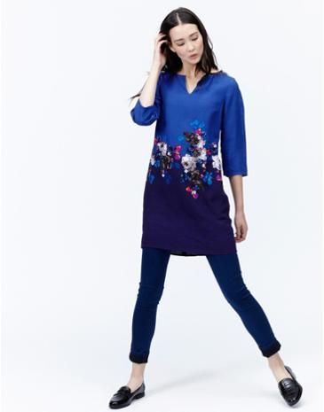 Joules Womens Woven Tunic, Deep Blue Floral.                     We've crafted this classic deep notch neck dress from winter weight crepe to make it ideal for teaming with warm tights for an easy-to-wear outfit.