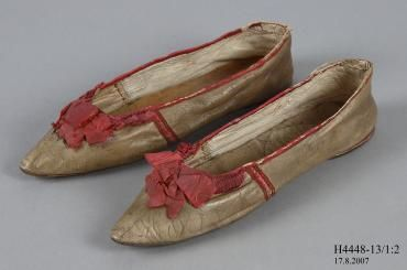 Pair of slip on shoes made for Taylor's Warehouse, 1810 - 1815