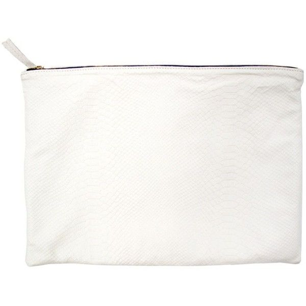 Clare Vivier Oversized White Clutch (320 AUD) ❤ liked on Polyvore featuring bags, handbags, clutches, fillers, purses, white, oversized handbags, leather hand bags, white purse and white leather handbags