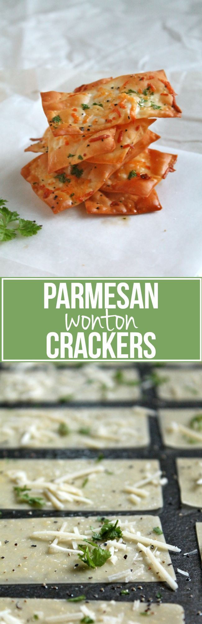 Parmesan Wonton Crackers - easy and healthy alternative to potato chips!