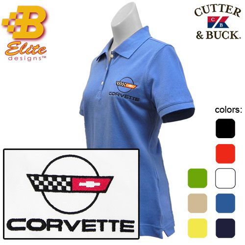 Ladies wear this great C4 Corvette script and emblem Polo to the next car show or gathering. The Corvette C4 Script is featured on the front left chest of this Ladies Polo Cutter and Buck Shirt. Available in Several Different Colors: Black, Blue, Green, Navy, Red, Stone, White, and Yellow Sizes Small – 2X