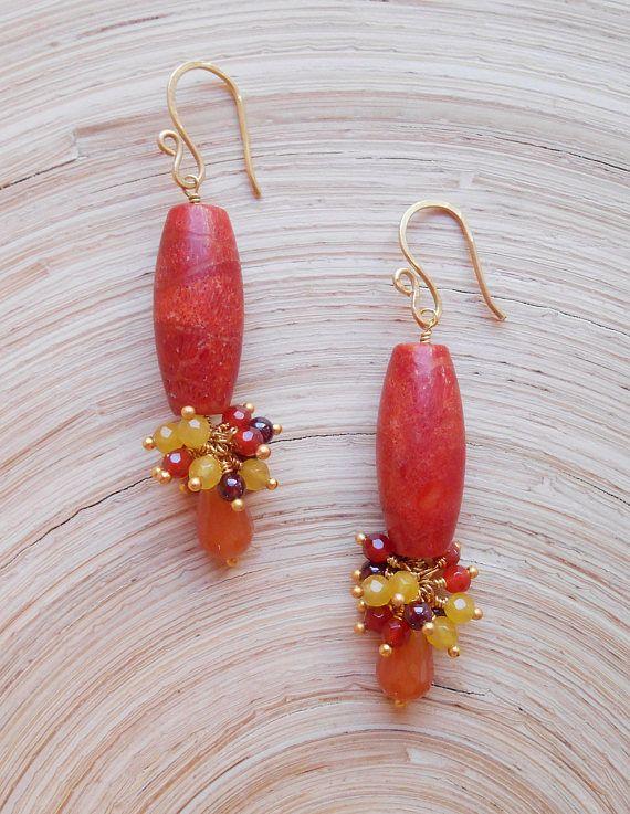 Eden gemstone cluster dangle drop earrings red orange sponge
