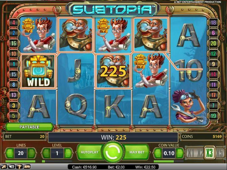 Spelautomater Subtopia - I Subtopia får du följa med på en spännande jakt efter gömda skatter under havets yta. Simma runt bland bläckfiskar och ubåtar i jakten på sjunkna ädelstenar och förvunna skatter. Här nedan kan du prova på spelet gratis, utan registrering eller insättning, det är bara klicka och köra igång!