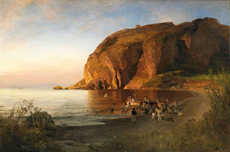Oswald Achenbach, ITALIAN COAST IN THE EVENING, Auction 939 Old Masters, Lot 1300