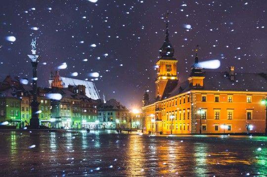 Warszawa Plac Zamkowy w śniegu - plakat premium