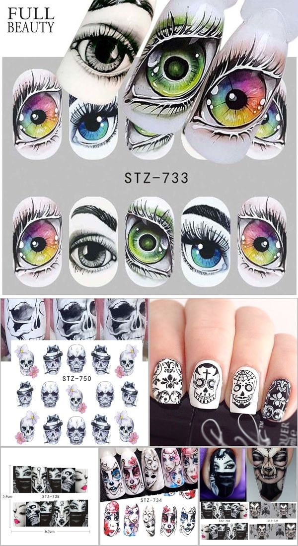 Full Beauty 1x Skull Bone Nail Sticker Water Self Adhesive Nail Art Tattoo Big Eye Horror Decals For Nail Stickers Halloween Nails Art Tattoo