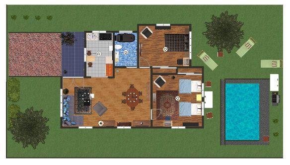 Distribucion casa de campo casa habitacion pinterest for Distribucion de una casa de una planta