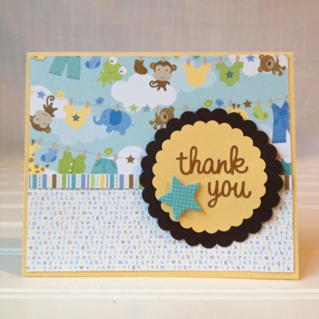homemade baby shower thank you cards