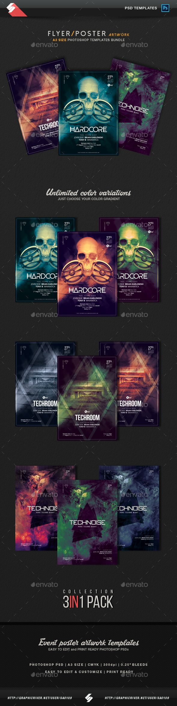 Techno Party Flyer / Poster Artwork Templates Bundle. Download here: https://graphicriver.net/item/techno-party-flyer-poster-artwork-templates-bundle/17282565?ref=ksioks