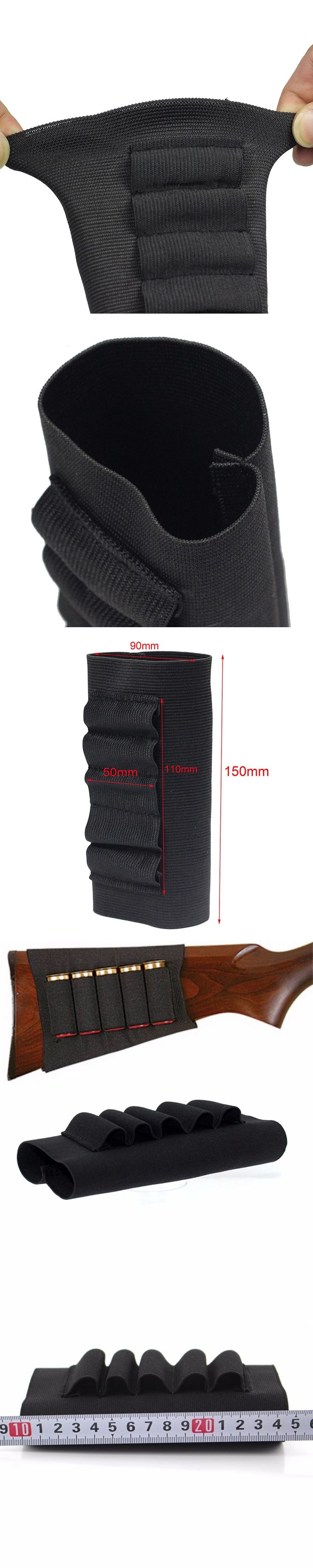 Hunting Accessories 15CM Airsoft Rifle  Tactical Pouches 5 Butt Cartridges Stock Shell Holder Elastic Fabric Carrier P15