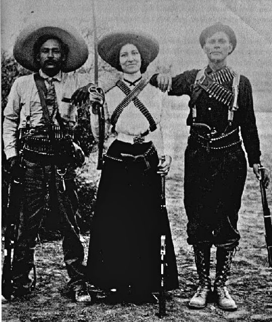 Image of a female soldier in the Mexican Revolution, maybe one of Emilia's ancestors
