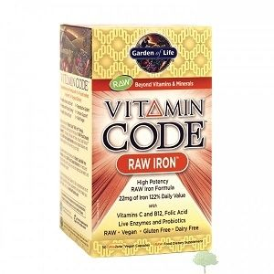 Garden of Life RAW Iron: Vitamin Code RAW Iron is RAW, gluten-free, dairy-free and contains no binders or fillers. Taking this RAW iron formula to the next level, Vitamin Code RAW Iron also provides a RAW probiotic and enzyme blend along with a RAW organic fruit and vegetable blend for additional nutritional support.