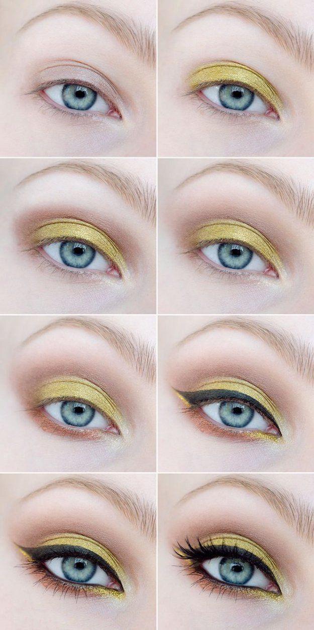 Tutorial de maquillaje para ojos de color amarillo con negro