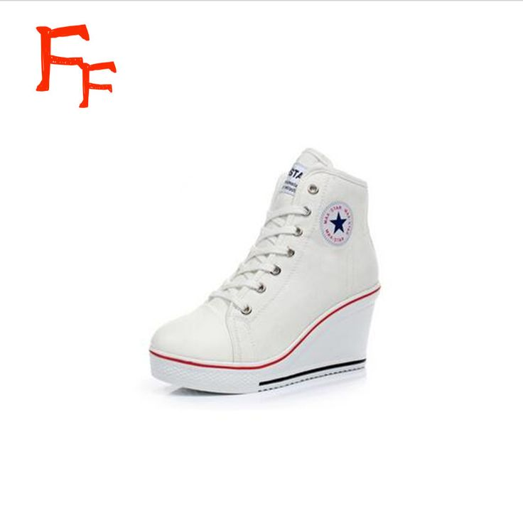 2016 woman wedges high lacing casual elevator shoes female canvas shoes high  top wedge boots women