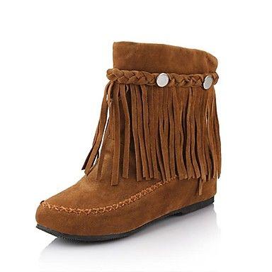 Chaussures Femme Simili Daim Talon plat Bottes Bottes mi-mollet Bottes Robe Noir/Marron/Rouge – EUR € 27.26