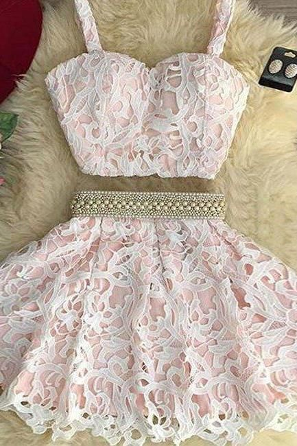 24a414d9ff0aa homecoming dresses,cute pink two pieces lace short prom dress, pink  homecoming dress