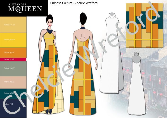 This is an outfit I have designed and created using Photoshop and Illustrator inspired by the Mcqueen Label. The designed are inspired by the forecast trend 'Culture' looking specifically at the Chinese Culture for inspiration with fashion and textile Design.