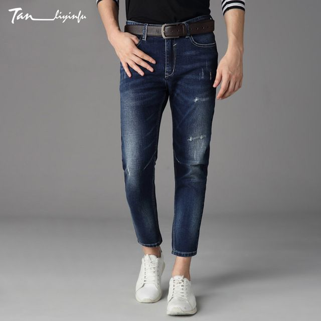 We love it and we know you also love it as well Tanliyinfu boutique denim men's brand Lycra men's blue cropped jeans color decoration large slim slim trousers just only $26.52 with free shipping worldwide  #jeansformen Plese click on picture to see our special price for you