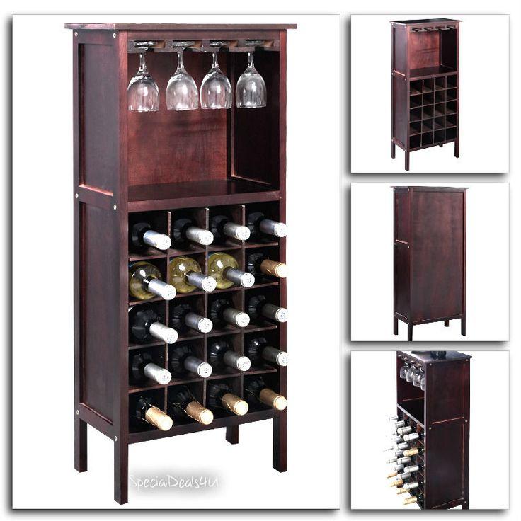Wine Rack Bottle Glass Holder Wooden Storage Bar Kitchen 20 Bottles Cabinet Home…
