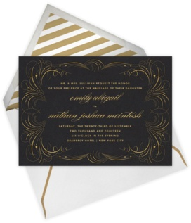 Paperless Post | Gold Flourish invite (Black)