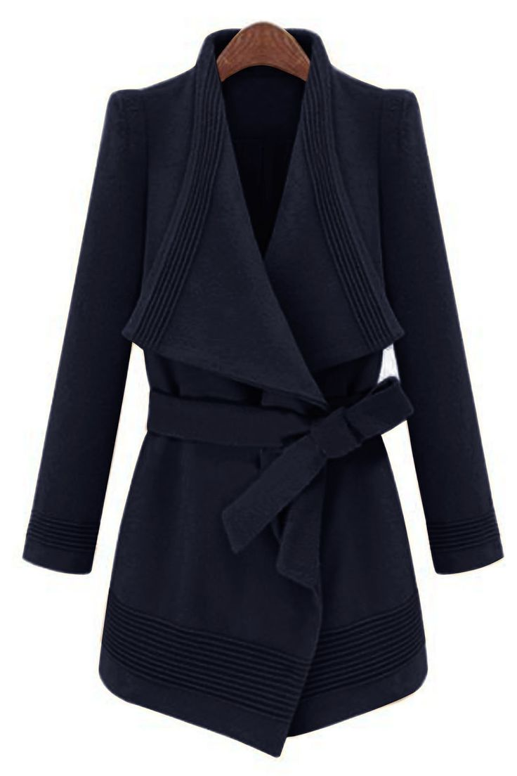 Waterfall Trench Coat in Navy with Belt - US$65.95 -YOINS