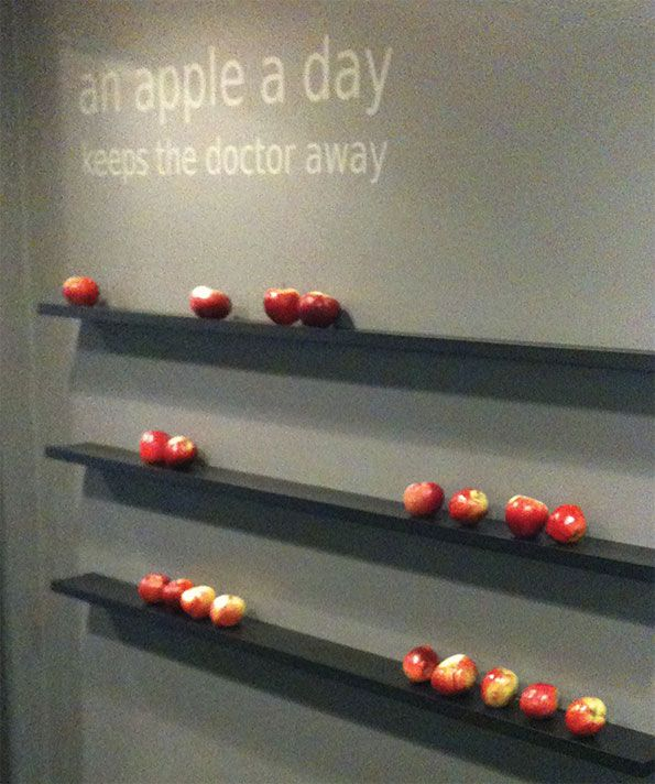Nudging. Here an apple nudge from Hotel Svenborg, Denmark. Spottet by designKONSISTENS