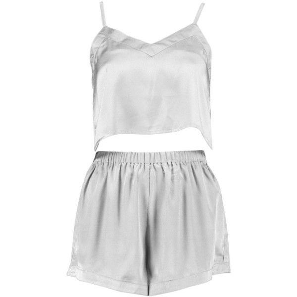 Boohoo Kara Satin Crop Vest And Shorts Night Set ($16) ❤ liked on Polyvore featuring intimates, sleepwear, pajamas, satin pajama sets, satin sleepwear, satin pajamas, satin pyjamas and satin pjs