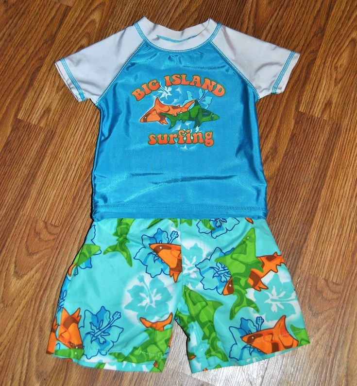 Baby Buns 12 Months Boy Swim Suit Sharks Surfing EUC Summer Spring #BabyBuns #Set