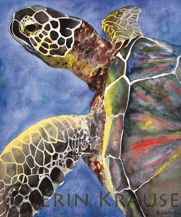 Original Sea Turtle Watercolor by ErinKrauseArt on Etsy. $200.00, via Etsy.