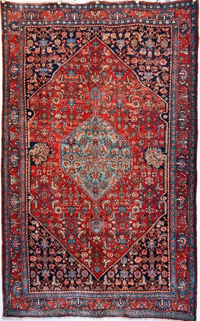 Rug Number Size X Style Tribal Type Bidjar Origin Persian Iran Age Antique Color Red Content Wool Construction Hand Knotted