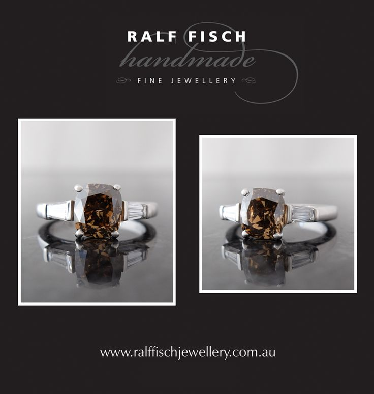 18ct white gold handmade dress ring with a cognac cushion cut diamond framed by tapered baguette diamonds. The warm glittering tones of the cognac diamond are complimented by the icy flashes from the white diamonds.