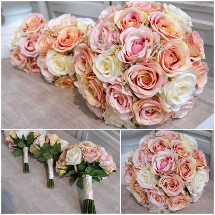 Simple wedding bouquet design with massed roses in shades of pink peach and cream - Artificial flowers