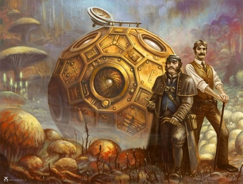 """This image, for me, embodies all the best of Steampunk adventuring! It's entitled """"The First Men on the Moon"""""""