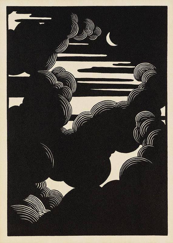 Félix Vallotton, Clouds / Wolken, 1890 . Woodcut