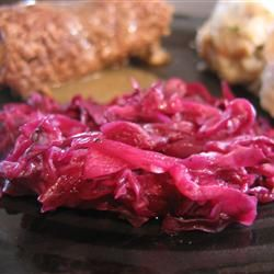 Grandma Jeanette's Amazing German Red Cabbage Allrecipes.com. Less vinegar add bacon and onion and don't forget to add some gravey from the rolaten.