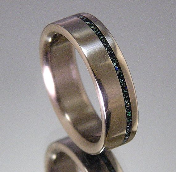 Titanium Wedding Band Turquoise Offset Inlay by HolzRingShop I love this, think I may need a new wedding ring !!