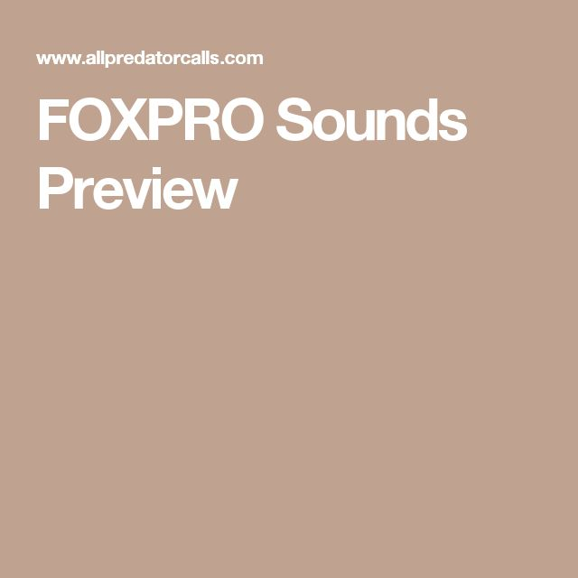 FOXPRO Sounds Preview
