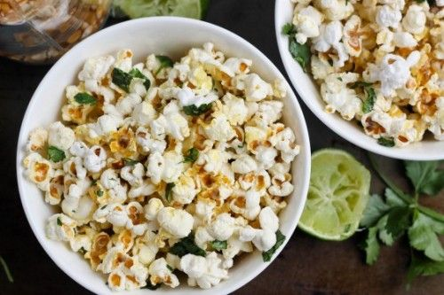 Cilantro Lime Popcorn from Bake Your Day   Savory Popcorn Recipes   frugal snacks made with #realfood   MoneywiseMoms