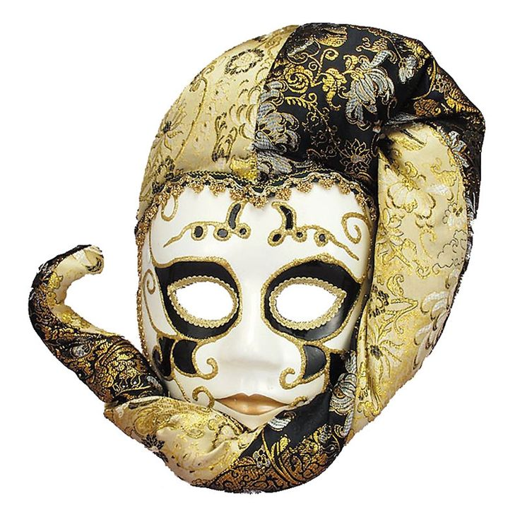 Mr. Sandman, bring me a dream! This dreamy Sand Man Masquerade Hat for Women is crafted from sculpted white plastic, with deep kohl outlining the eye-sockets. Our Renaissance-style Jester Hat is a gorgeous Venetian Masquerade Mask for Mardi Gras, adorned with gold brocade ribbon and sparkling glitter designs. The black and gold Jester's Motley Cap is crafted from a silky fabric, with elegant floral designs printed on the brim and crown.  One size fits most teens and adults.