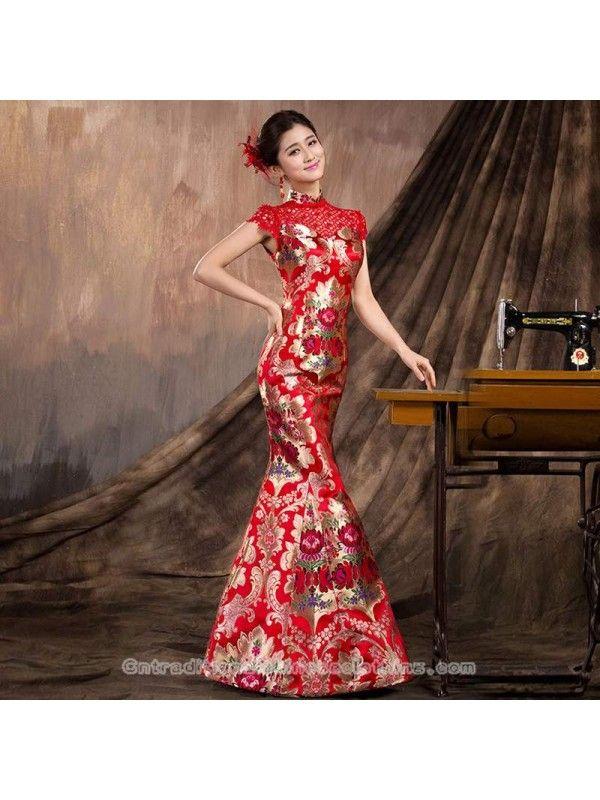 6b58e4c86 #traditionalchineseweddingdress traditional chinese clothing traditional chinese  dress Gold floral brocade qipao modern mermaid bridal wedding gown Wedding  ...
