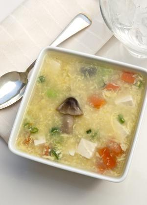 Delicate Mushroom and Egg Flower (Kinoko Tamago) Japanese Soup | #soup #recipe #japanesefood via @aboutcomfood