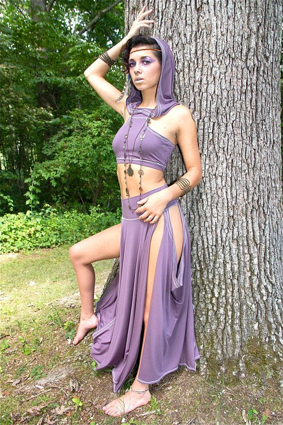 The Kara Maxi Skirt w side slits in Amethyst -  Bellydance, Fairy, Elven, Performance Skirt, Exotic Dance, Burning Man, Fantasy, Tribal