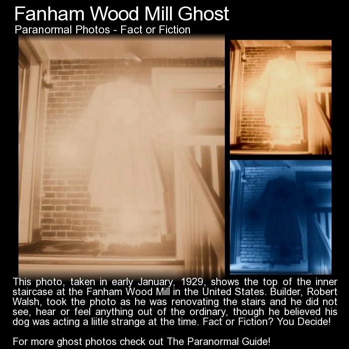 Fanham Wood Mill Ghost. This is an older photo, taken in an old mill, that has seemingly captured something ghostly. What do you think? http://www.theparanormalguide.com/blog/fanham-wood-mill-ghost