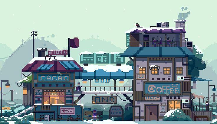 Пиксельный фон город