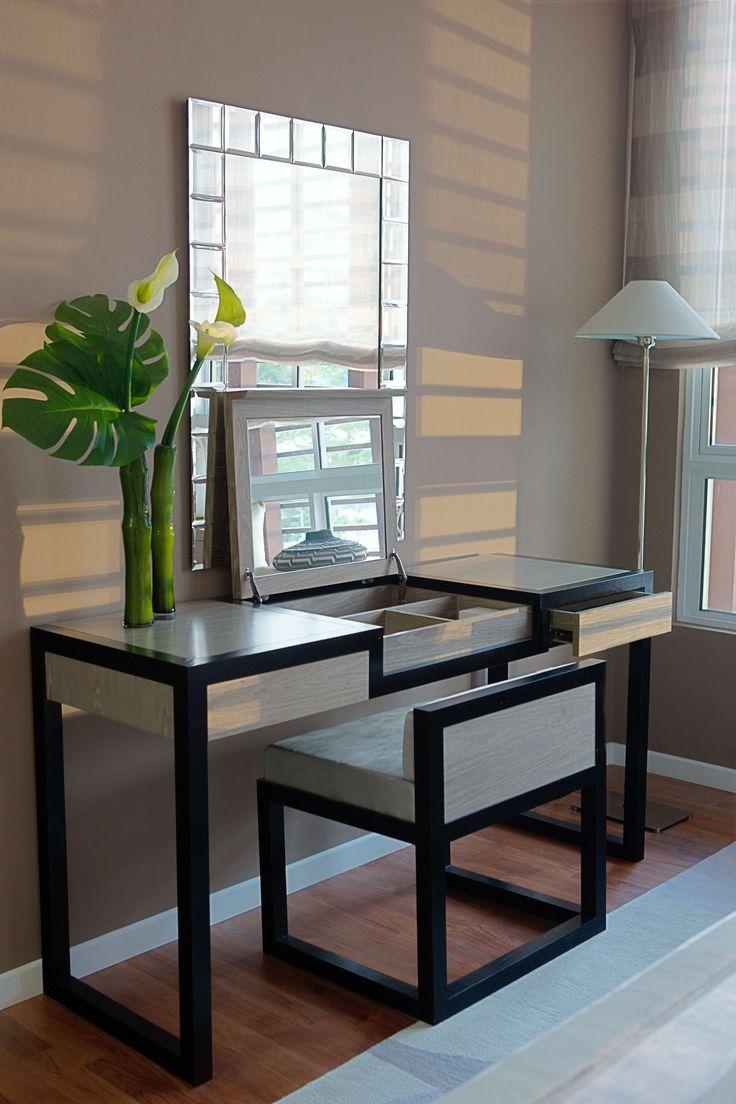 Mirror nightstands contemporary bedroom kimberley seldon design - Furniture Modern Black Bedroom Vanity With Upholstered Vanity Chair And Folding Down Make Up Mirror