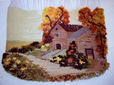 camino de flores tapiz lana,algodón,yute tapiz alto lizo