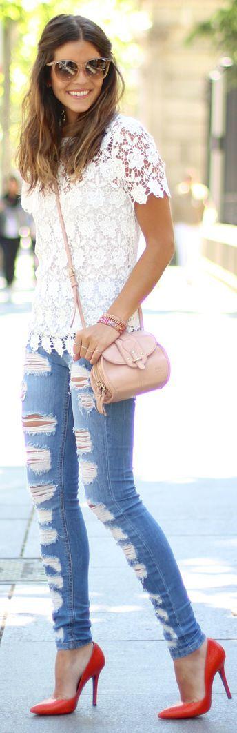 Suiteblanco Denim Skinny Shredded Jeans and Lace Top