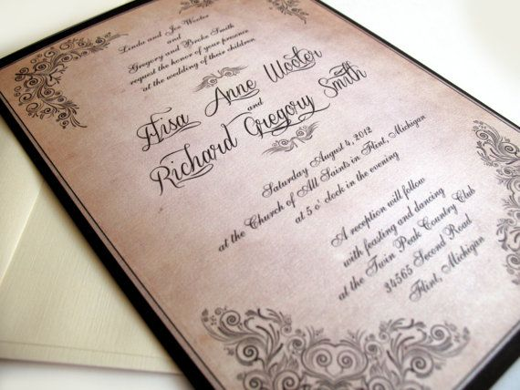 Invitations de mariage Vintage  défilement par DesignedWithAmore, $2.00