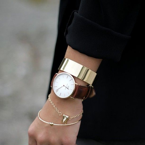 #AutumnFashion - Statement watch teamed beautifully with chains and cuffs