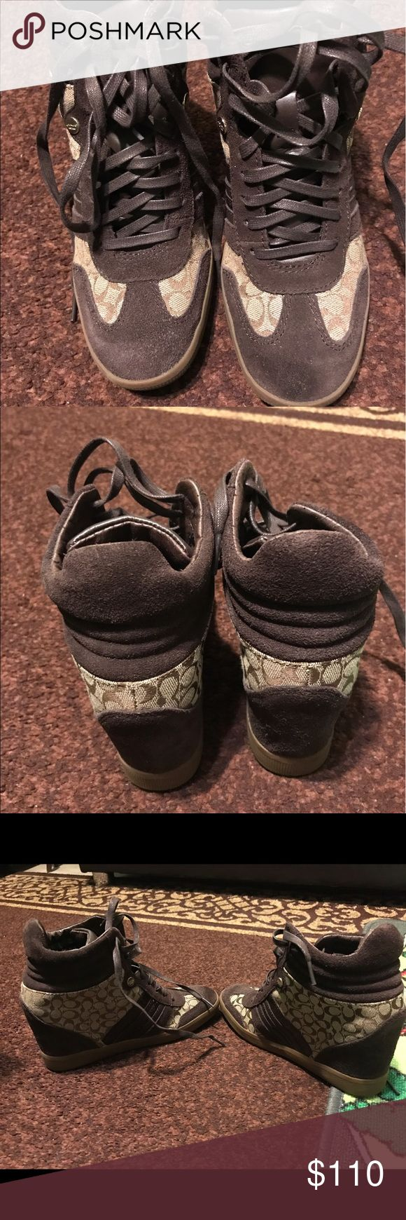 Womens coach sneakers wedges tan/brown size 7 Only worn once. In great condition! Price is negotiable 😊 Coach Shoes Sneakers